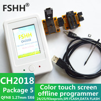 CH2018 Color screen offline programmer SPI programmer 24/25/93EEPROM DATA SPI FLASH with 5*6mm QFN8 DFN8 MLP8 WSONsocket adapter