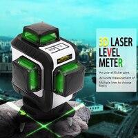 Профессиональные зеленый 3D лазерный уровень метр leveler проектор USB Интерфейс nivel лазерный строительство инструмент с 12 линий штатив