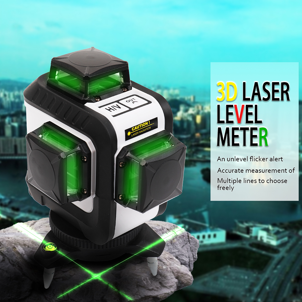 Professional green 3D Laser Level Meter leveler Projector USB Interface nivel laser Construction tool with 12 Lines Tripod