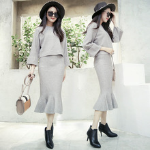 Autumn Winter Plus size Solid color Sweater Knitted Skirt Set Women Long Sleeve Knitting Pullover Sweater Suit two piece set цена в Москве и Питере