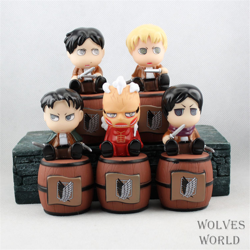 WVW 5pcs/Set Attack on Titan Levi Ackerman Rivai Mikasa Ackerman Model PVC Toy Action Figure Decoration For Collection Gift 28 70cm 1000% bearbrick be rbrick attack on titans action toy figure medicom toy art work great gift for friends