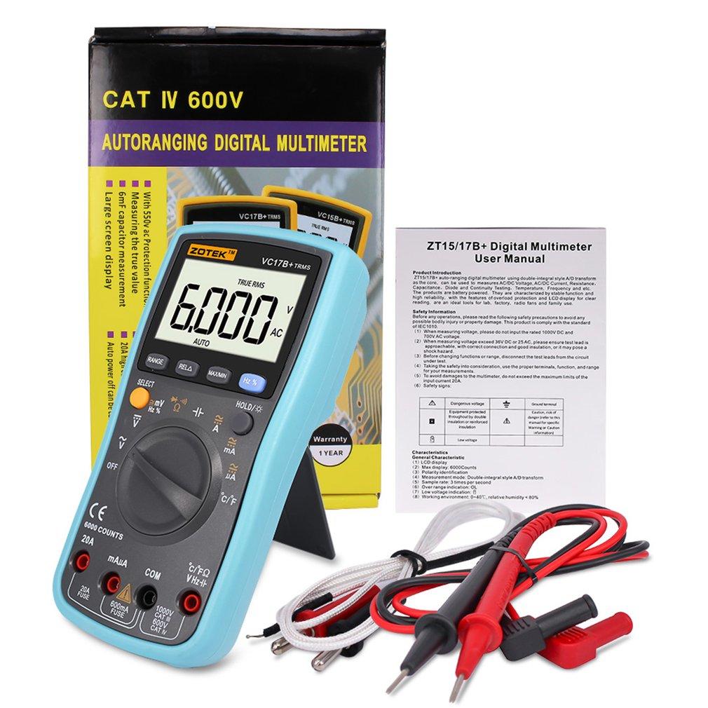 ZOTEK VC17B+ 6000 Counts True RMS Digital Multimeter Auto Range AC/DC Voltage Current Meter Ohm Diode Voltmeter with Blacklight