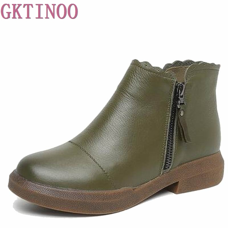 New women Genuine Leather Boots Vintage Style Flat Booties Soft Cowhide Women's Shoes side Zip Ankle Boots zapatos mujer T1084 maylosa 2017 vintage style genuine leather women boots flat booties soft cowhide women s shoes zip ankle boots warm winter shoe
