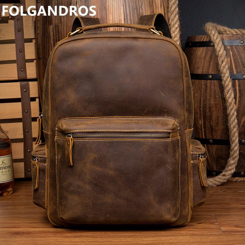 Męska plecaki Vintage prawdziwej skórzany plecak marki designerski top Handmade Crazy Horse skórzane laptop biznesowy szkoła Bagpack w Plecaki od Bagaże i torby na  Grupa 1