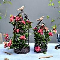 2Sets Roses Black Iron Birdcage Basket Desktop Decor Artificial Flowers Home Wedding Office Shop Decorative Fake Flower