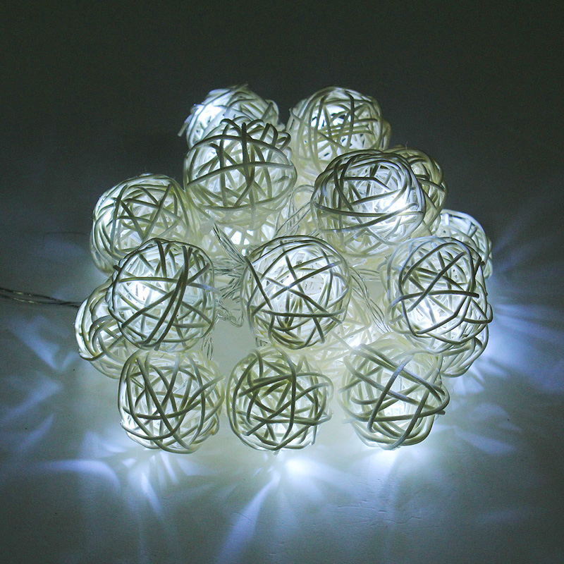 Led 2m 20leds Xmas Holiday Christmas Light 2M Fairy Rattan Ball String Lamp White Warm Colorful Decoration for Xmas New Year Wedding festival Party (26)
