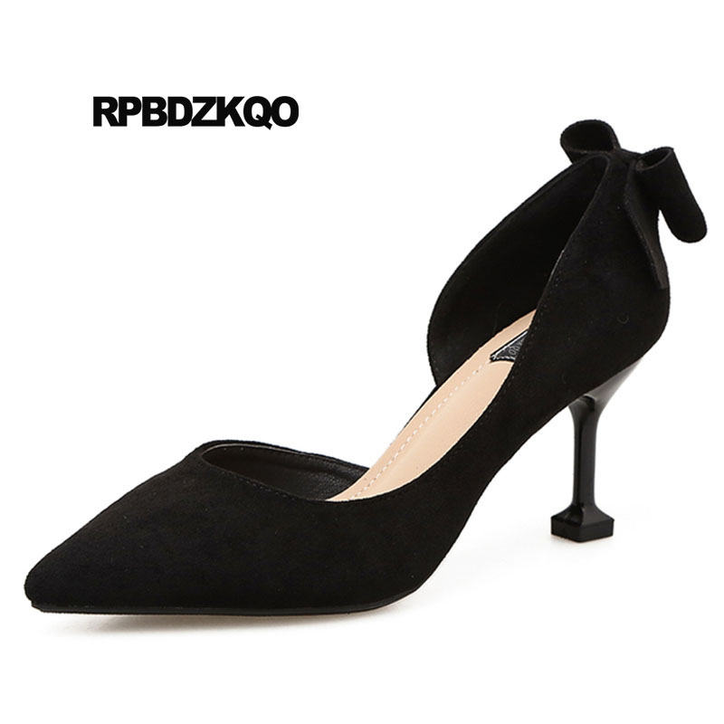 Navy Blue Pumps Office Cheap D'orsay Bow Evening Women Suede Black High Heels Elegant 2018 Pointed Toe Size 4 34 Shoes Thin office stiletto elegant 2018 cheap women high heels black shoes d orsay navy blue pumps suede sexy pointed toe size 4 34 3 inch
