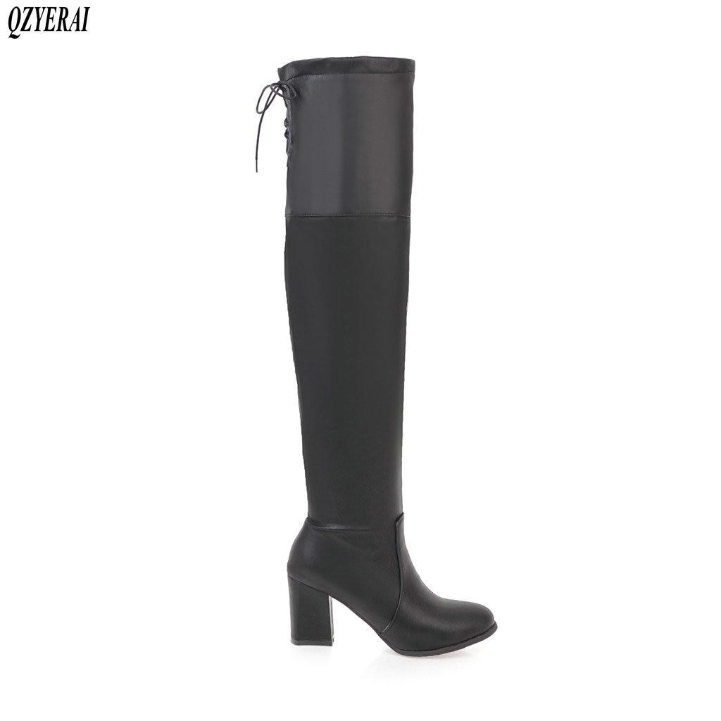 QZYERAI 2018 New fashion womens boots knee-high boots stretch tight womens shoes sexy black size 34-43