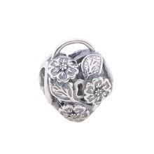 Perlas de plata de ley original candado en forma de corazón delicado con la flor encantos adapta pandora pulsera del encanto al por mayor