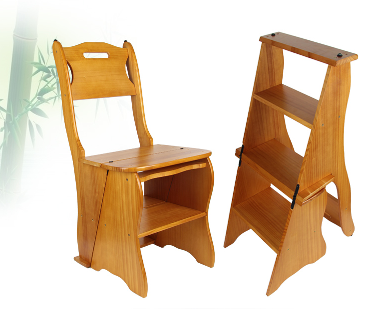 Solid wood double ladder chair stair chair home ladder 4 tallin