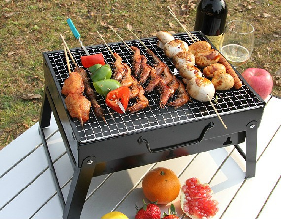 Portable Outdoor Camping BBQ Grills Stainless Steel Folding Barbecue Grill Rack Durable Family Charbroiler Oven stainless steel outdoor folding travel mug silver 50ml
