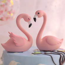 Pink Sitting Swan Lovely Cake Decorations For Birthday Baby Shower Party Decoration Supplies Gift Square Round Cake Topper(China)
