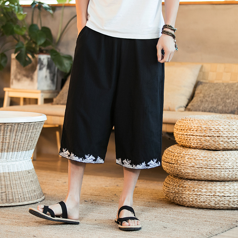 Men's Wide Crotch Harem Pants Loose Summer Large Cropped Trousers Wide-legged Bloomers Chinese Style Flaxen Baggy Bermuda Casual