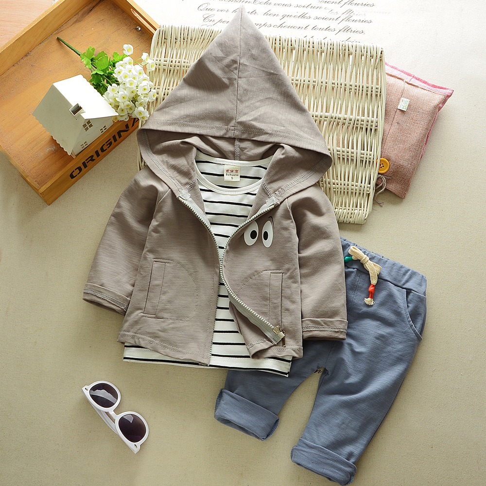 2017 Autumn Baby Girls Boys Clothes Sets Cute Infant Cotton Suits Hooded Coat+T Shirt+Pants 3 Pcs Casual Sports Jacket hot cute baby infant toddler chef cotton costume 3 piece clothes hat white top plaid pants for boys girls suits