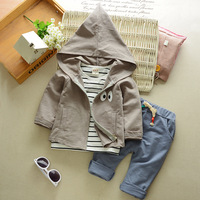 2017 Autumn Baby Girls Boys Clothes Sets Cute Infant Cotton Suits Hooded Coat T Shirt
