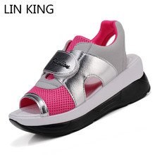 Купить с кэшбэком LIN KING Fashion Height Increasing Women Sandals Breathable Lady Pierced Swing Shoes Peep Toe Wedges Platform Shoes For Students