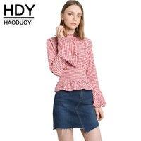 HDY Women Plaid Blouses Elegant Plaid Ruffles Blouse Flare Sleeve Tops Shirt Sweet Brief Slim Female