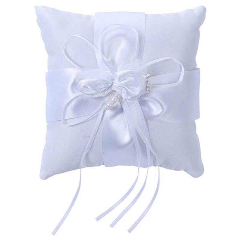 YHYS belle 15x15 cm blanc mariage dentelle anneau oreiller fleur forme avec Flash diamant romantique oreiller coussin décoration de la maison