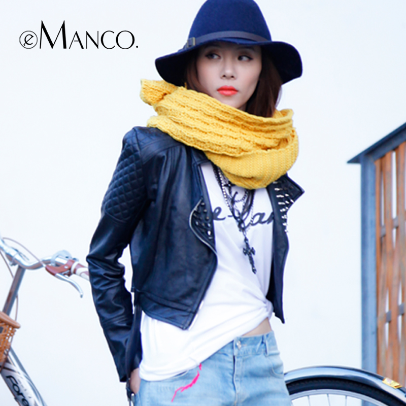 Trendy Weave Wool Scarves Women Neck Warmer Knitted Crochet Loop Scarf Winter Girl Accessories