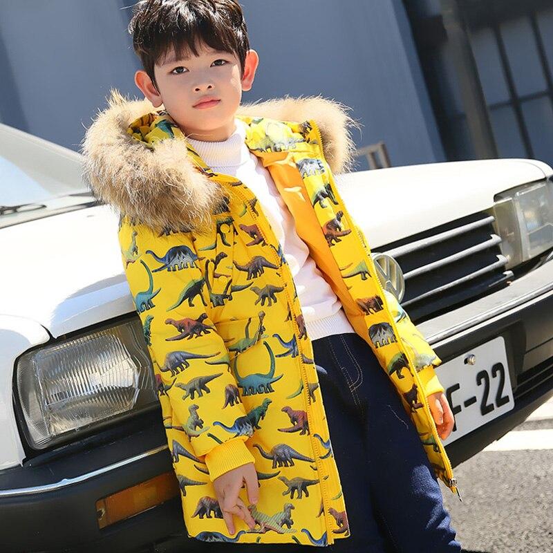 Garçons doudoune nouveau canard blanc vers le bas de la mode dinosaure imprimé enfants vers le bas manteau enfants Parkas à capuche garçon vêtements