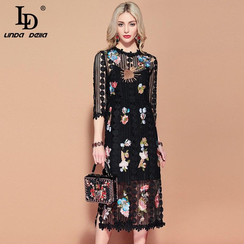 LD LINDA DELLA 2019 Printemps Piste De Mode décontracté Vintage Noir Magnifique de robe pour femmes évider Brodé Fleur robe en dentelle