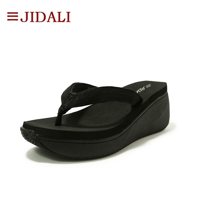 3474d80d0008 JIDALI Fashion Women Shoes Black Ladies Flip Flop High Platform Wedge EVA  Casual Sandals Summer Size 35-40