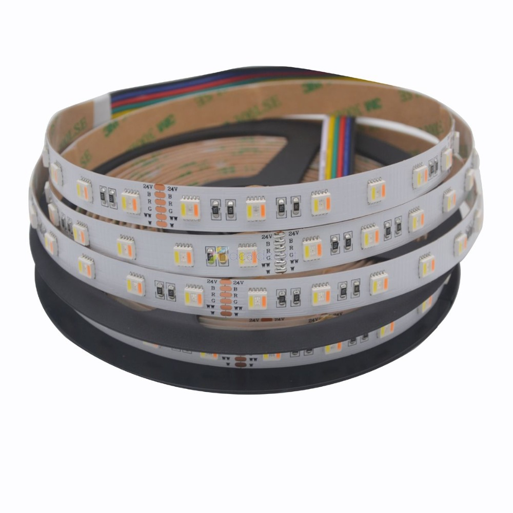 Newest RGB CCT 5 in 1 LED Strip 5050 60led meter 12v 24v CW RGB WW
