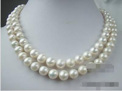 LIVRAISON GRATUITE vente CHAUDE nouveau Style>>>> 2 rangée incroyable blanc naturel AAA 10-11mm perle collier bijoux 925 s