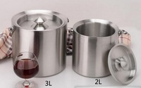 Double-thick 304 stainless steel ice bucket with lid champagne buckets Wine Bar Supplies
