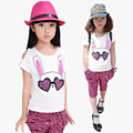 Summer 100% Cotton Girls T-Shirt+Short Pants Clothes Set,Short Sleeve Cute Kids Clothes Girls,Leopard-Print  Shorts Girls Pants