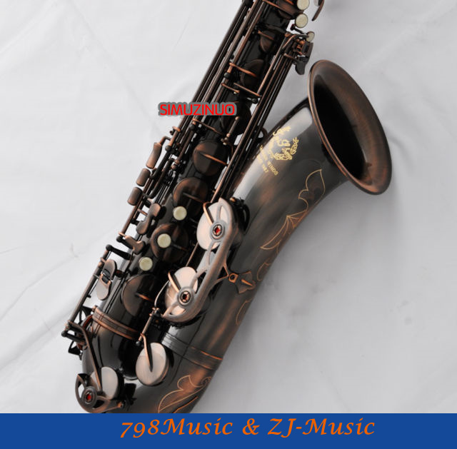 Professional Tenor Saxophone Red Antique Finish Bb Sax High F# Brand new tenor saxophone free shipping selmer instrument saxophone wire drawing bronze copper 54 professional b mouthpiece sax saxophone