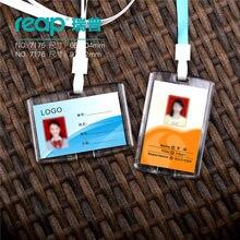 Cartão de exposição de acesso do crachá do nome da identificação do pessoal do cristal acrílico duro transparente com correias (tamanho padrão)