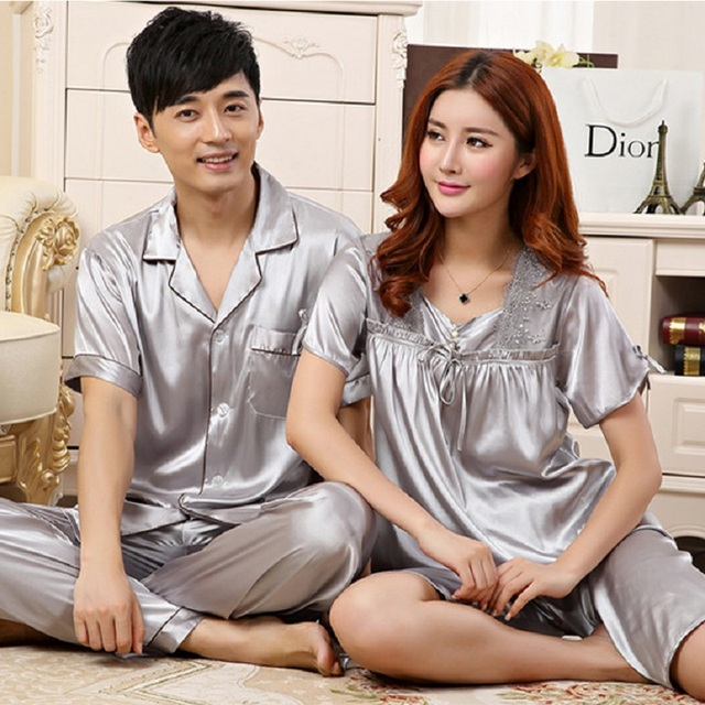 4f08fdbb21 Women Pyjamas Couples Satin Silk like Pajama Sets Summer Short Sleeve  Sleepwear Solid Nightwear Casual Longwear