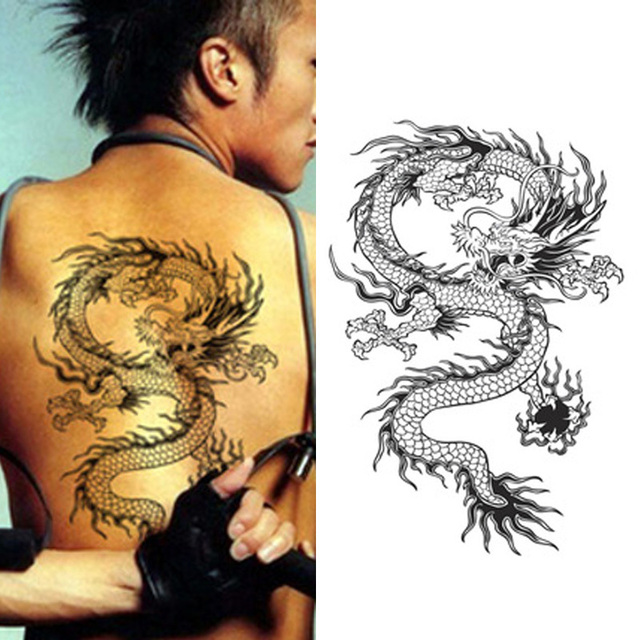 4f0101e1a Asia Traditional Designs Temporary Tattoo Stickers Waterproof Men Women  High Quality Large Sexy Products Dragon Tattoo for Back