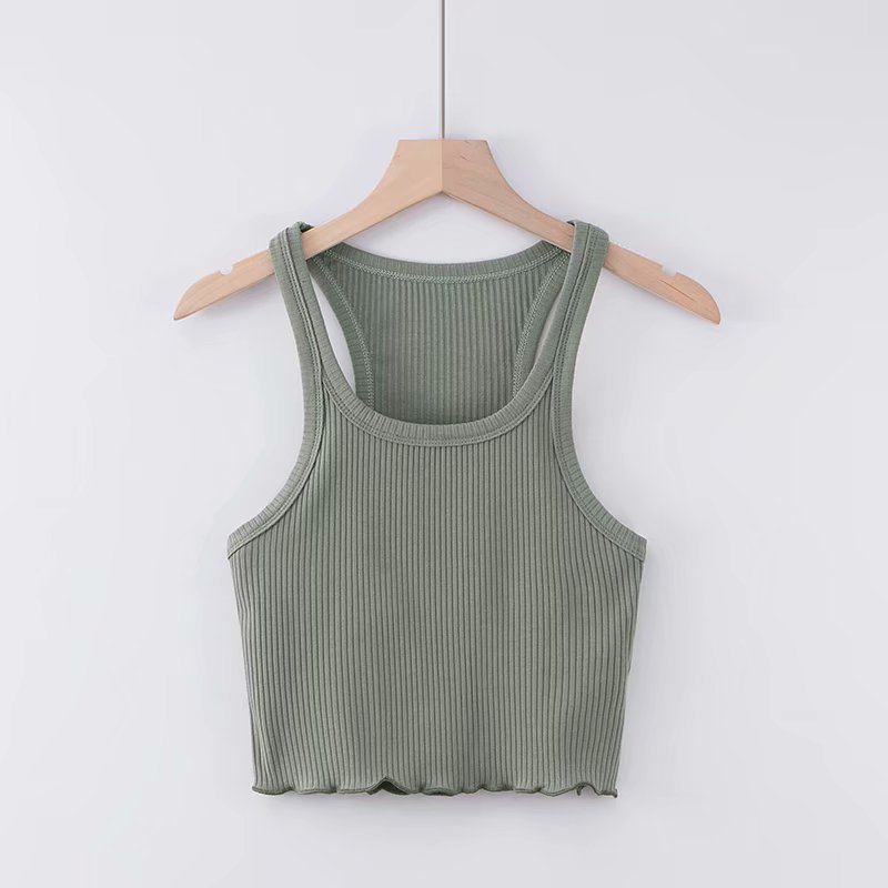 Summer new fashion U-neck hem wooden ear vest female, street casual short sexy bottoming vest female(China)