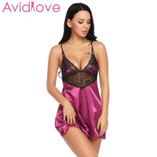 Avidlove Night Dress Women Sleepwear Nightgown Sexy Satin Chemise Women Lace Patchwork Sleepwear with G String