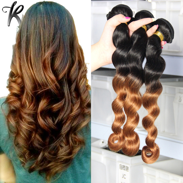 Loose Curly Wave Ombre Brazilian Virgin Hair Extensions 3pcs Black