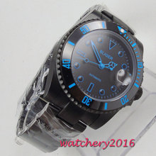 лучшая цена 40mm Bliger Black Dial ceramic bezel Sapphire Glass PVD Case Blue Marks Fashion Date Automatic movement men's Watch