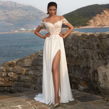 2019 Custom Boho Beach Wedding Dresses Cheap Short Sleeves Top Lace Slit Wedding Gowns with Illusion Back New Design red slit design bateau long sleeves top