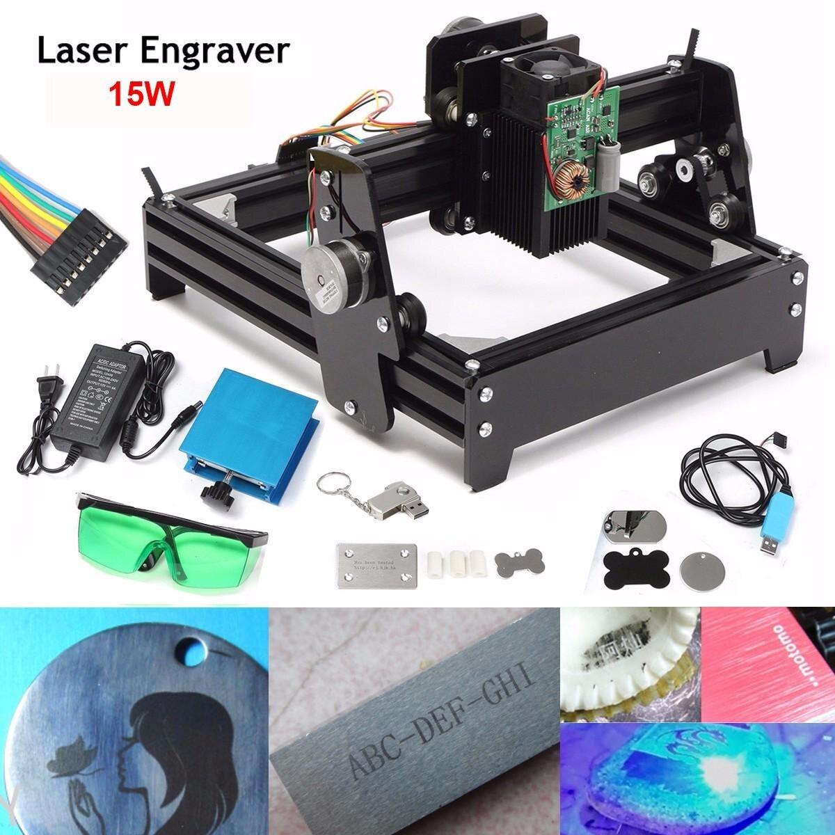 Nuovo 15 w Laser COME-5 USB Desktop di 15000 mw del Laser di CNC Incisore FAI DA TE Macchina di Marcatura Per Il Metallo di Pietra zona di Incisione in legno 14x20 cm