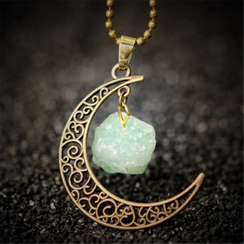 Vintage moon necklace irregular natural stone pendant necklaces vintage moon necklace irregular natural stone pendant necklaces multi color crystals antique bronze chains jewelry gifts in pendants from jewelry aloadofball Choice Image