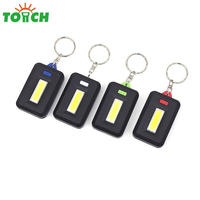 купить Mini COB LED Keychain Flashlight Tactical 3 Mode PVC Key Chain Pocket Lantern Torch Emergency Flash Light Use 3*AAA Battery онлайн