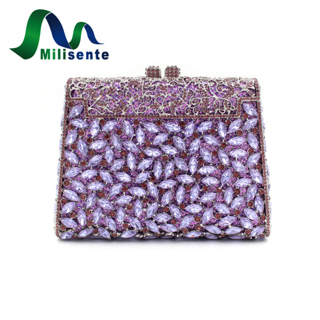 Milisente Women Wedding Clutch Bags Luxury Crystal Handbag Diamonds Party Clutches Fashion Purple Stones Purse