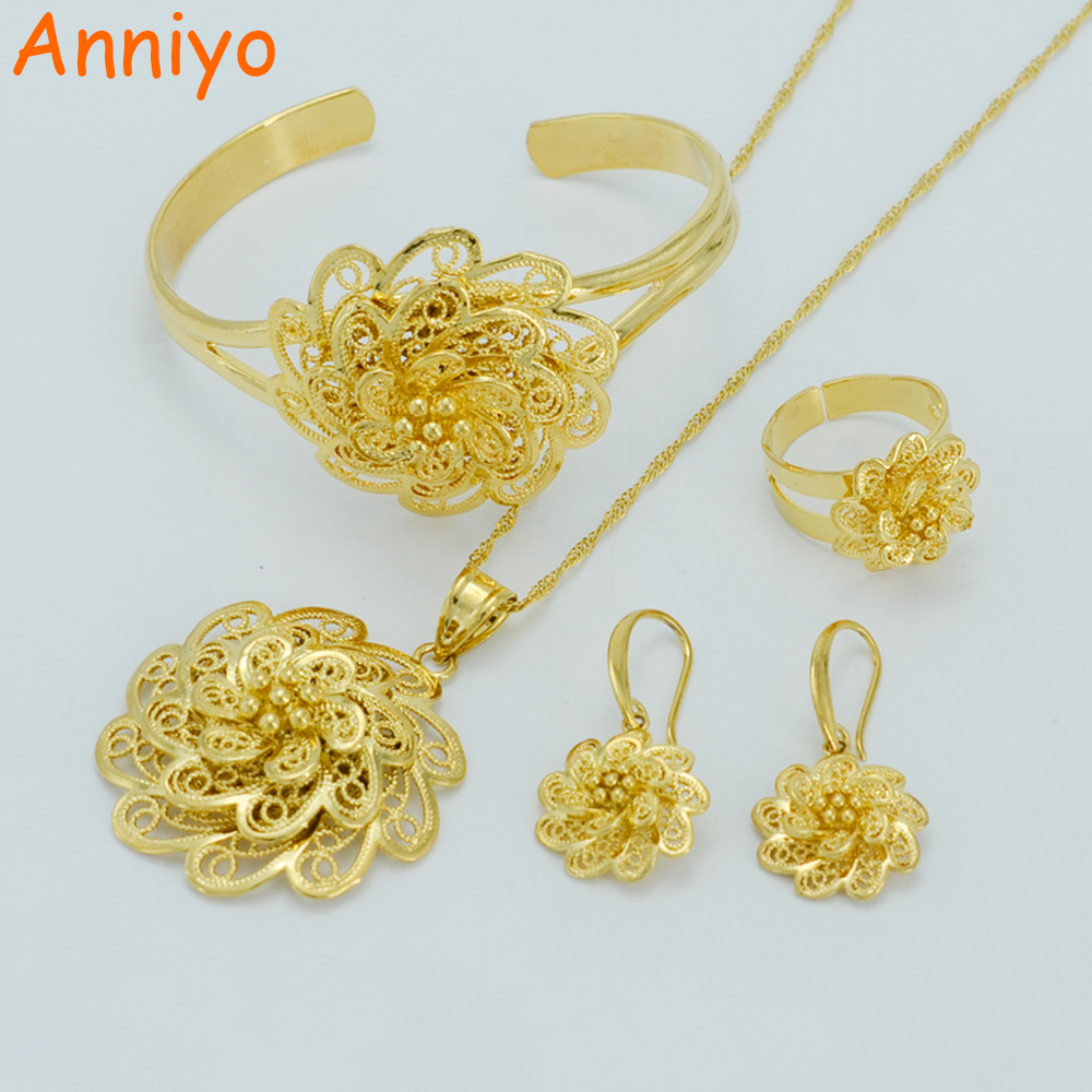 20c948e916536 Anniyo Flower set Jewelry Pendant Necklace/Bangle/Earrings/Ring Gold Color  Flowers Ethiopian Wedding African #029306