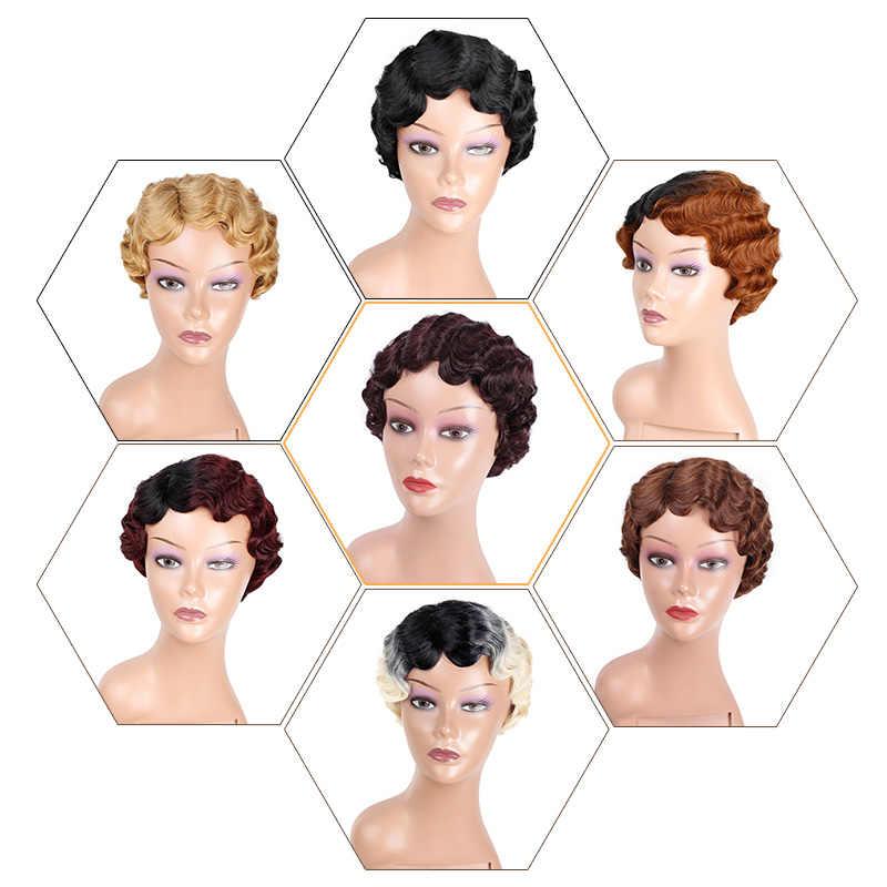 Doris schönheit Ombre Kurze Lockige Schwarz Nette Perücken für Frauen Afrikanische Afro Haar Synthetische Rot Braun Wärme Beständig