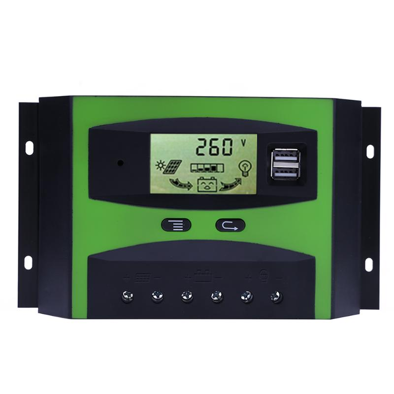 30A 50A 12V/24V LCD Display PWM Solar Panel Charge Controller Regulator with Dual USB 5V Output New Arrival 10a 20a 30a lcd pwm solar panel charge controller battery regulator 12v 24v with dual usb