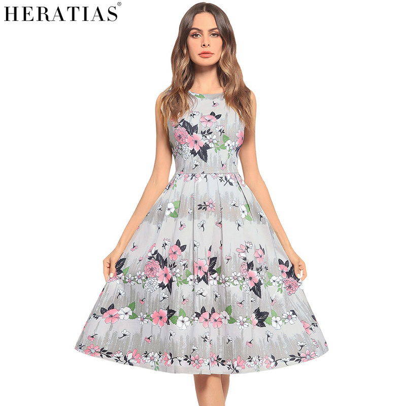 HERATIAS Dress Women Vintage Fashion Leisure Dress Sleeveless O-Neck Elegant Floral Print Office Party Sexy Ladies A-Line Clothe
