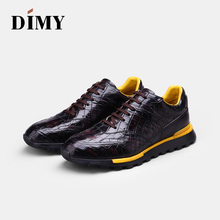 DIMY handmade custom mens leather shoes dress casual fashion England wind hand-painted crocodile
