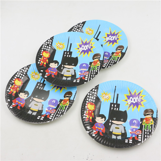 20pcs birthday party supplies superheor cute batman superman for kids boys disposable paper plates cake dishes  sc 1 st  AliExpress.com & 20pcs birthday party supplies superheor cute batman superman for ...