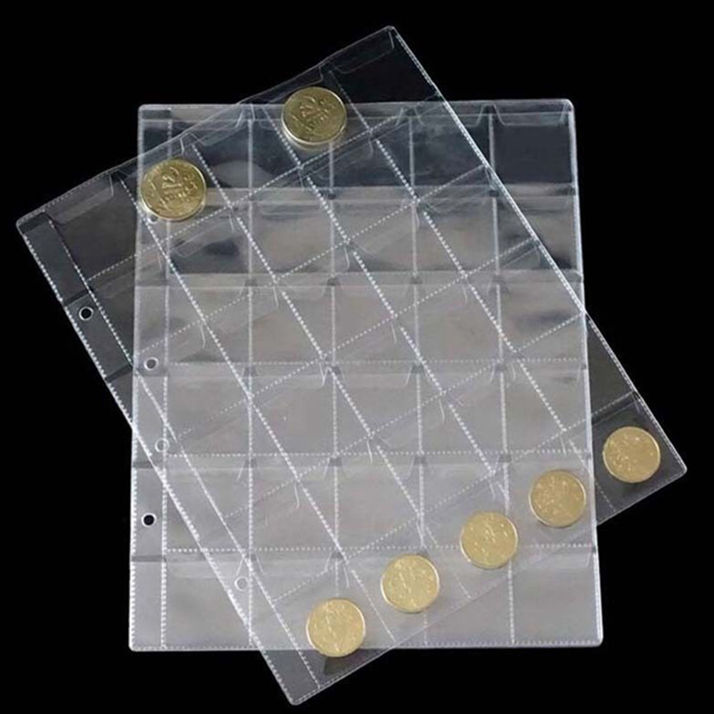 1 Sheet 30 Pockets Transpare Clear Plastic Coin Holder Storage Collection HG4059